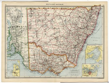 1905 Map Antique AUSTRALIA South East PORT ADELAIDE Port Jackson PORT PHILLIP